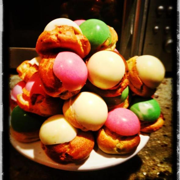 pastel coloured chocolate choux