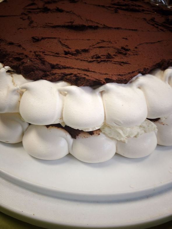 meringue ganache vanllla cream layer cake
